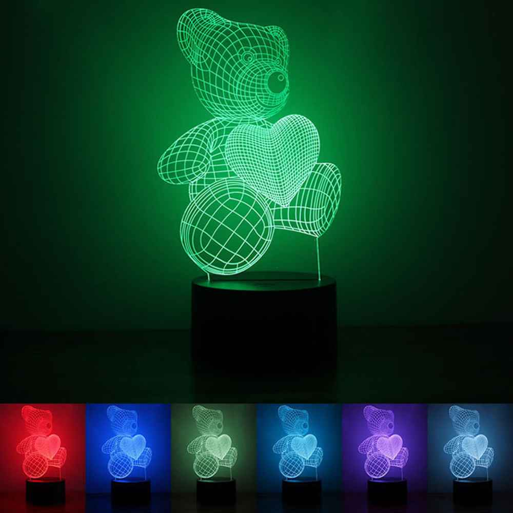 Led night lamp manufacturers - Love Bear 3d Led Night Lights 7colors Change Table Lamps For Party Children Bedroom Baby Toys