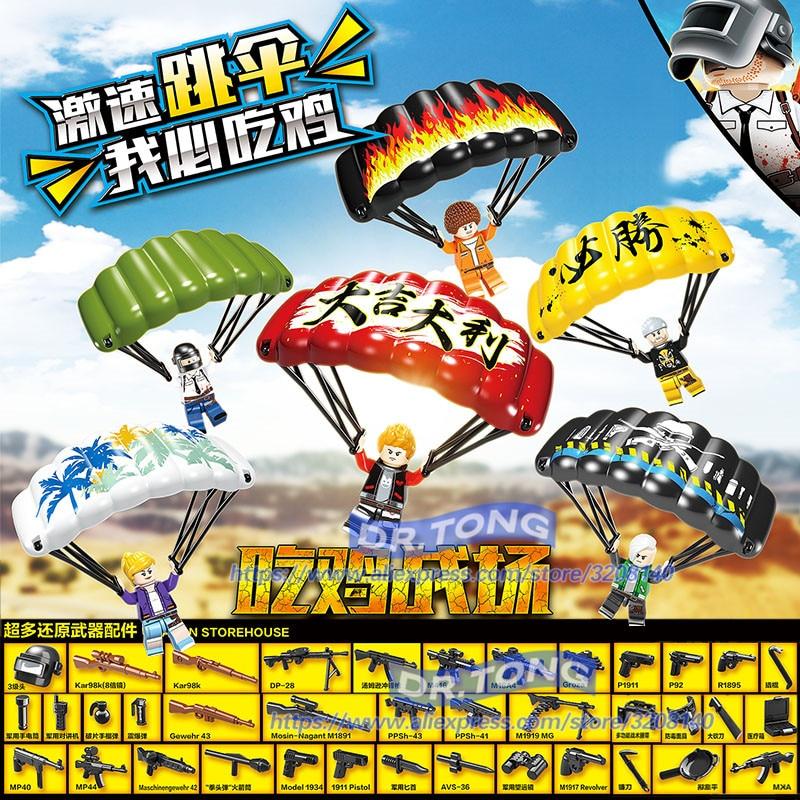 60PCS PUBG Game Figures Winner Winner Chicken Dinner Army Weapon Military Parachute Building Blocks Bricks Children Toys D100049 цена