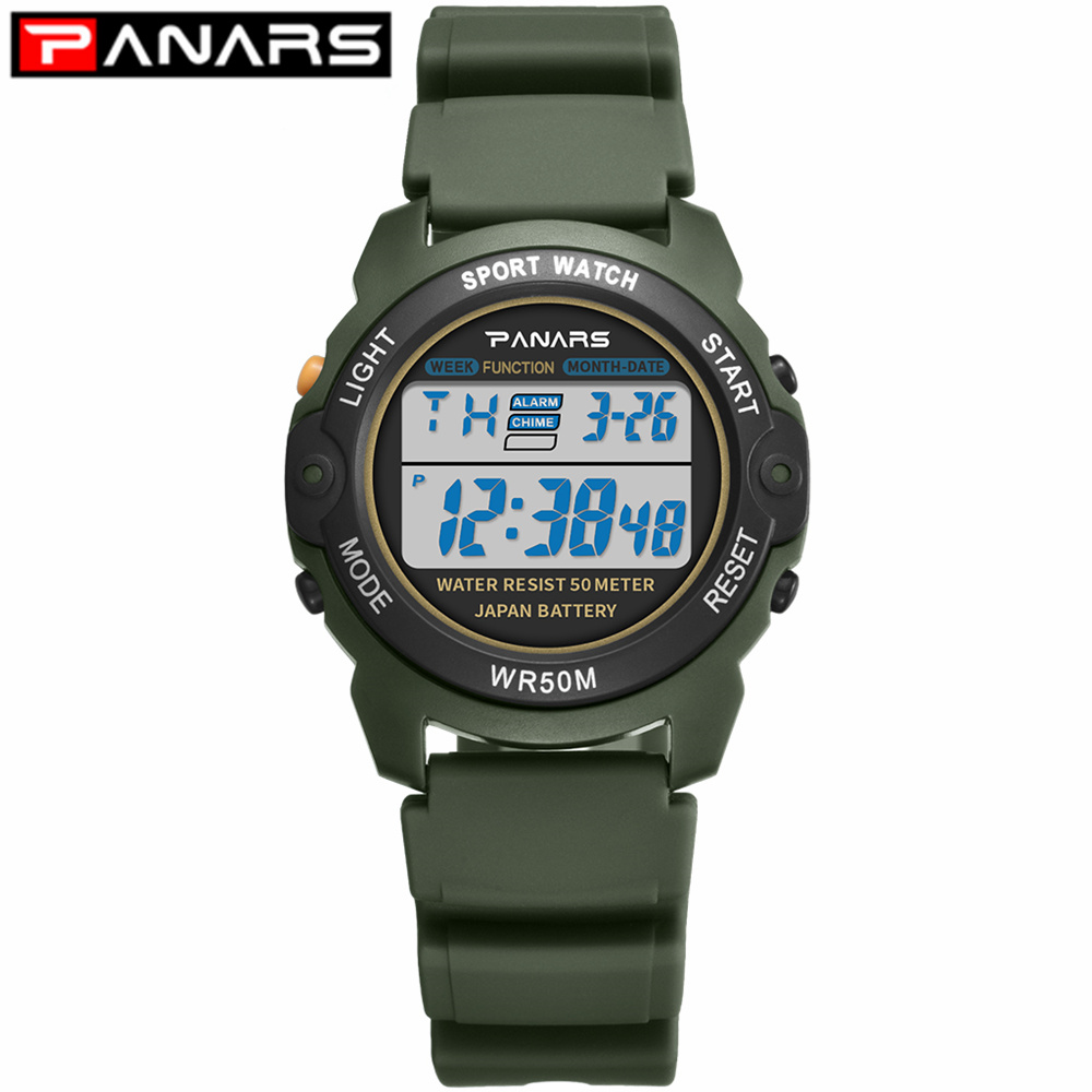 PANARS 2019 Sports Kids Watch WR50M Waterproof Children's Wristwatch Army Green Alarm Clock Multi-function Watches For Boys 8135
