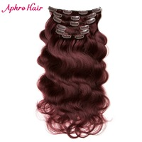 Aphro Haar Braziliaanse Body Wave 7 stks/set 70g Clip In Hair Extensions 16