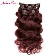 Aphro Hair Brazilian Body Wave 7pcs/set 70g Clip In Hair Extensions 16″18″20″22″24″ Non-Remy Hair 99j Burgundy Human Hair