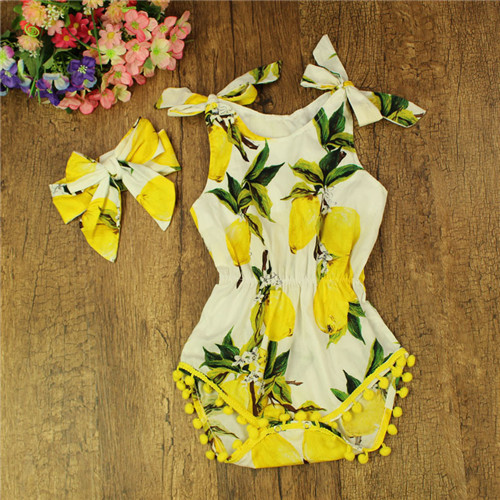 Baby Girls Romper Summer Newborn Baby Clothes Infant Baby One-pieces Rompers Lemon Print Toddler Girls Clothing with headband puseky 2017 infant romper baby boys girls jumpsuit newborn bebe clothing hooded toddler baby clothes cute panda romper costumes