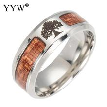 Yyw Stainless Steel Finger Ring With Wood Runes Rings Mosaic Semi-Circle Male Punk Jewelry