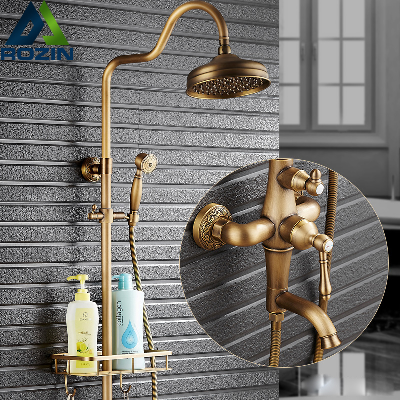 European Style Rain 8 Brass Shower Faucets Tub Shower Mixer Set with Basket Commodity Shelf Hand