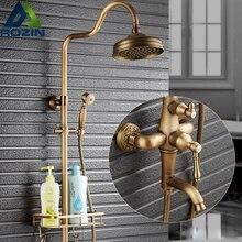 Европейский Стиль Дождь 8 «латунь душ, краны, Ванна смеситель для душа набор с корзиной товар Полка + ручной душ 360 Вращение Носик
