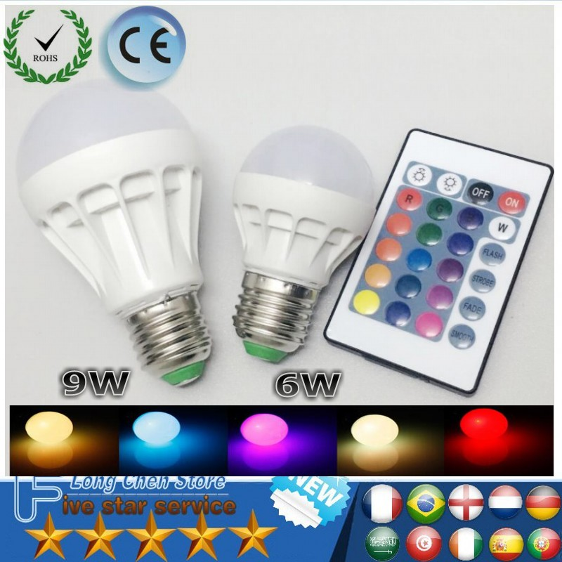 RGB LED Lamp E27 B22 6W 9W LED Bulb RGB Soptlight 85-265V Energy Saving 16 Color Change LED Lampara With IR Remote Brand NEW