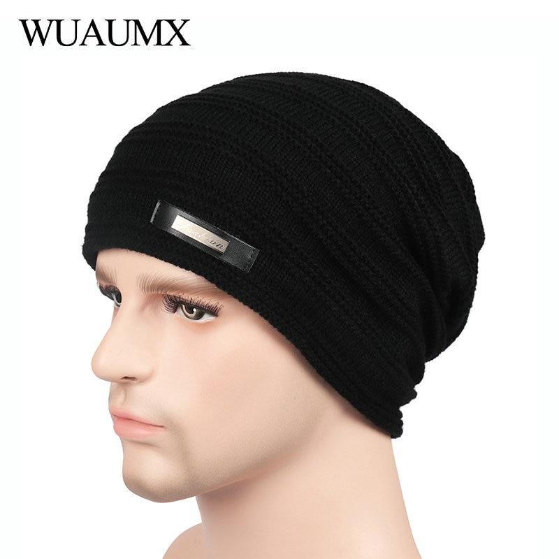 Wuaumx 2018 Fashio Winter Hats   Beanies   For Men Women Warm Lining With Velvet   Skullies     Beanie   Knitted Cap For Male czapka zimowa