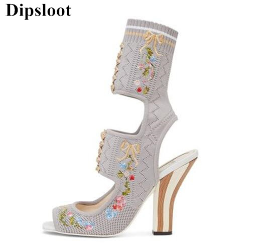 Dipsloot 2017 The Latest Sexy Cut-outs Knitted Woman Ankle Sandals Boots Embroidery Chunky Heels Dress Party Shoes Woman Sandals