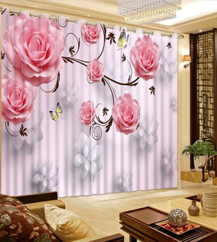 Modern Pink Curtains Custom 3D Painting Curtains romantic rose Girls Room Curtain Sofa Home Decor