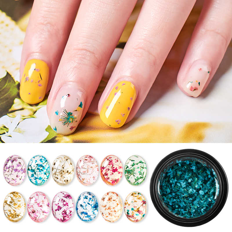 T-TIAO CLUB Floral Paint Dried Flowers Jelly Nail Gel Polish Nail Art Soak Off UV Gel Varnish DIY Natural Fairy Nails Gel Tips