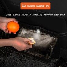 Прочный кожаный складной автомобиль мусорное ведро рамка Auto для мусора Авто МУСОР хранения отходов Организатор держатель сумка ведро светодио дный