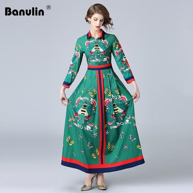 1b1169f120 Banulin High Quality 2018 Autumn Green Floral Print Fashion Sleeve Long  Boho Shirt Dress Runway Designer Maxi Women Dresses