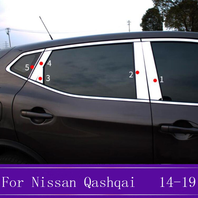 Stainless steel Car Window Pillar Post Covers Trim Sticker External <font><b>Accessories</b></font> For <font><b>Nissan</b></font> <font><b>Qashqai</b></font> J11 <font><b>2014</b></font> 2015 2016 2017-2019 image