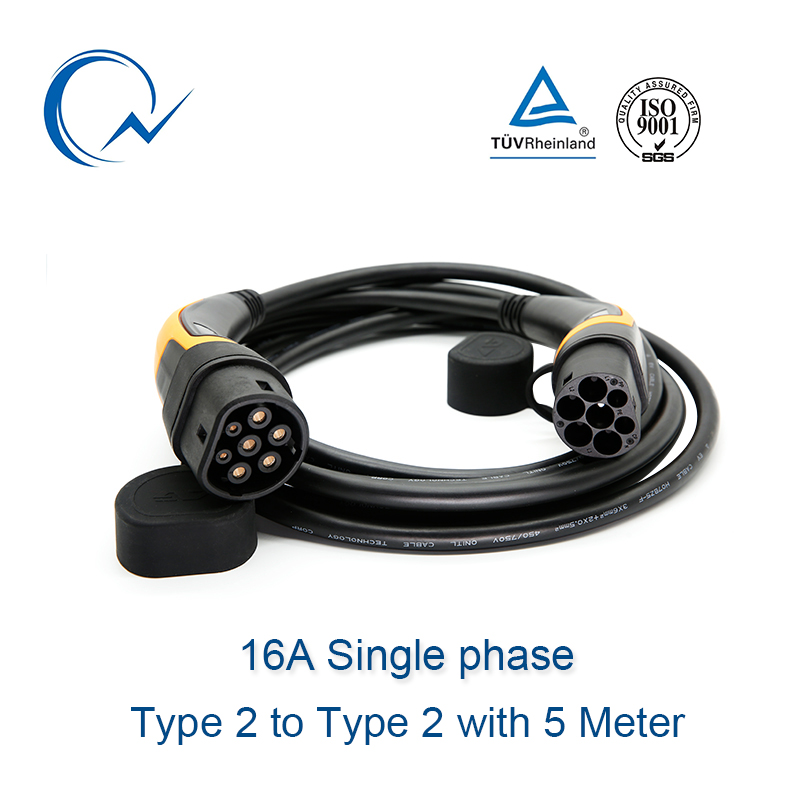 16A EV Cable Type 2 To Type 2 IEC 62196-2 Single Phase EV Charging Plug With 5 Meter Cable TUV/UL Mennekes 2 Connector