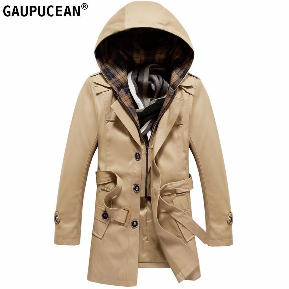 100% Baumwolle Mann Graben Hut Abnehmbare Männlichen Mantel Mit Kapuze Einreiher Tasten Schärpen Khaki Schwarz Rot Winter Männer Langen Mantel