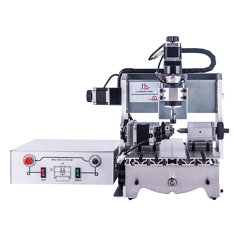 300W 4axis Cnc Lathe Machine 3020T With White Controll Box Cnc 3020