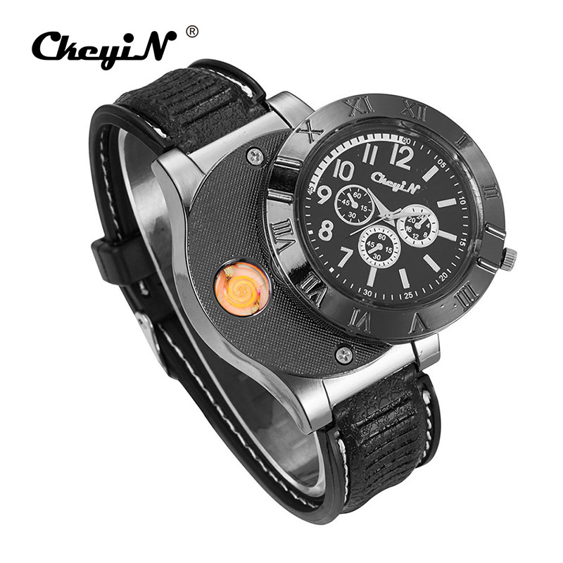 Military Lighter Watch Men Watches Flameless Windproof Cigarette Lighter USB Charging Sports Casual Electronic Wristwatches 35 f667 fashion rechargeable usb lighter watches electronic men s casual quartz wristwatches windproof flameless cigarette lighter