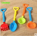 HAPPYXUAN 4 pieces Set Kids Sand Play Tools 34cm Shovel Rake Sieve Beach Toys Children Outdoor fun
