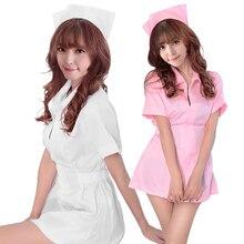 2ffc101b768 Sexy Women Nurse Costume Medical Scrubs Hospital Service Uniform Nightwear  Lingerie Nurse Headpiece Halloween Costumes(