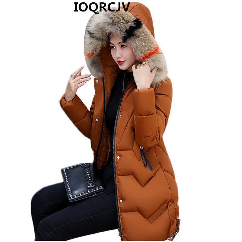 Women Fashion Hooded Fur Collar   Parkas   2018 Winter Jacket Slim Plus Size 3XL Thick Warm Down Cotton Jacket Women Clothing AA338