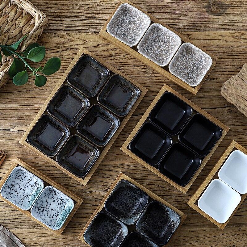 Креативная керамическая сетки Фруктовая тарелка для закуски пластины сервировочное блюдо японская маленькая тарелка с подносом домашних настольных высушенный плодоовощ закуска лоток-2