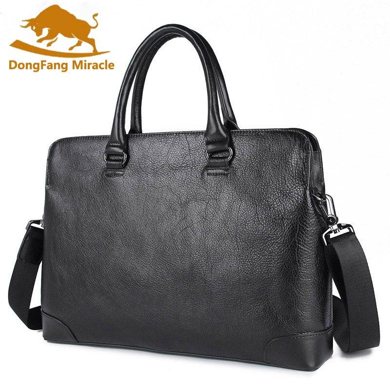 New Men Handbags Briefcase Simple Commuter File Package Male Genuine Leather 14 Inch Fashion Laptop Shoulder Messenger Bags