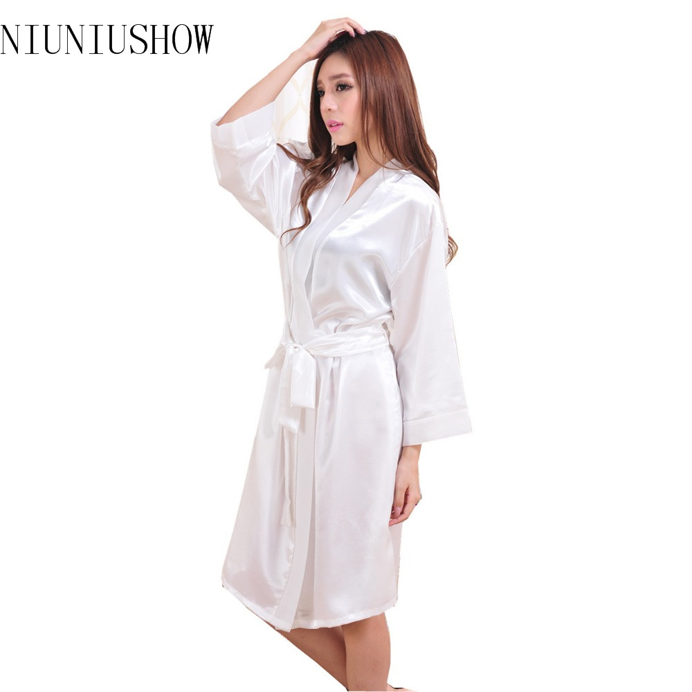 Top Quality New White Chiese Women Silk Chiffon Robe Sexy Kimono Bath Gown Sleepwear Nightgown Casual Robe One Size T05
