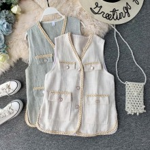 NiceMix Vintage Women tweed Vest waistcoat 2019 Autumn New Single-breasted Pockets colete Sleeveless Jacket Loose Casual Th