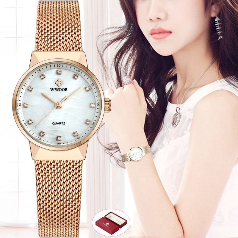 WWOOR Brand Luxury Women Waterproof Quartz Watch Ladies Rose Gold Small Clock Female Steel Mesh Bracelet Dress Women Wrist Watch 2016 luxury golden women dress wrist watches brand womage ladies ultra slim stainless steele mesh mini bracelet quartz watch