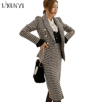 LXUNYI Fall Houndstooth Plaid Woolen Skirt Suit Office 2 Piece Sets Womens Outfits Jacket Blazer And Skirt Costume Office Wear