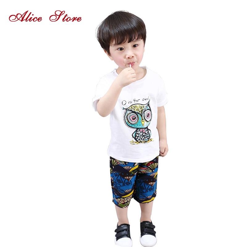 Մանկական ամառային հավաքածու 2018 Նոր ամառ Կորեական մանկական կարճ մանկական կարճ թև մուլտֆիլմ Owl T վերնաշապիկ + Տպ վերնաշապիկ 2 հատ Հագուստի հավաքածու