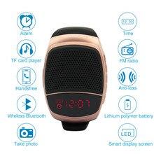 B90 MP3 Leitor de Música, chamadas Hands-free, rádio FM Multi-funcional Pulseira mini Speaker Portátil Sem Fio Bluetooth Smartwatch
