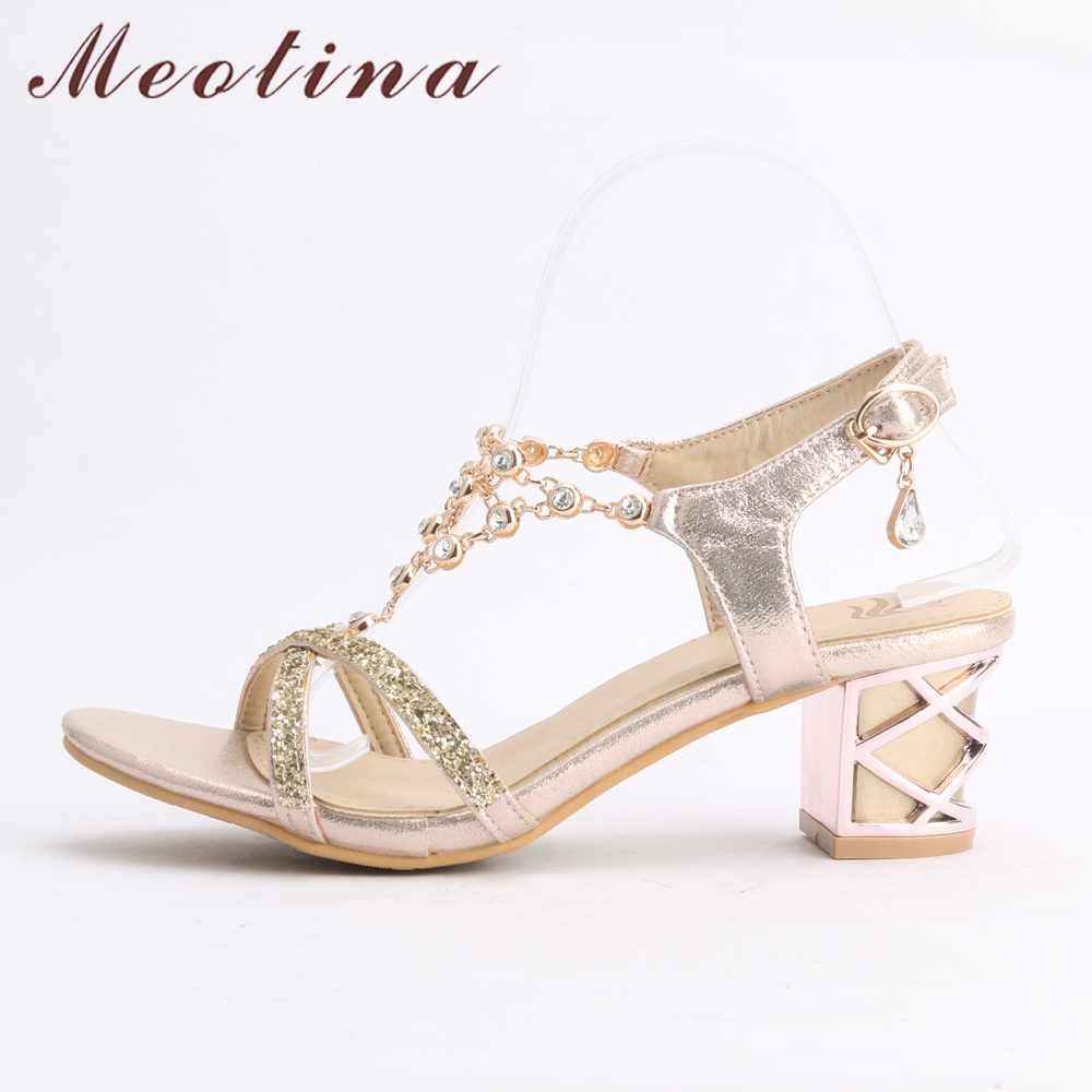 3f99f0140c US $23.58 50% OFF|Meotina Party Women Shoes Fashion Crystal Ladies Sandals  Summer Open Toe T Strap Party Thick Medium Heels Rhinestone Gold Blue-in ...