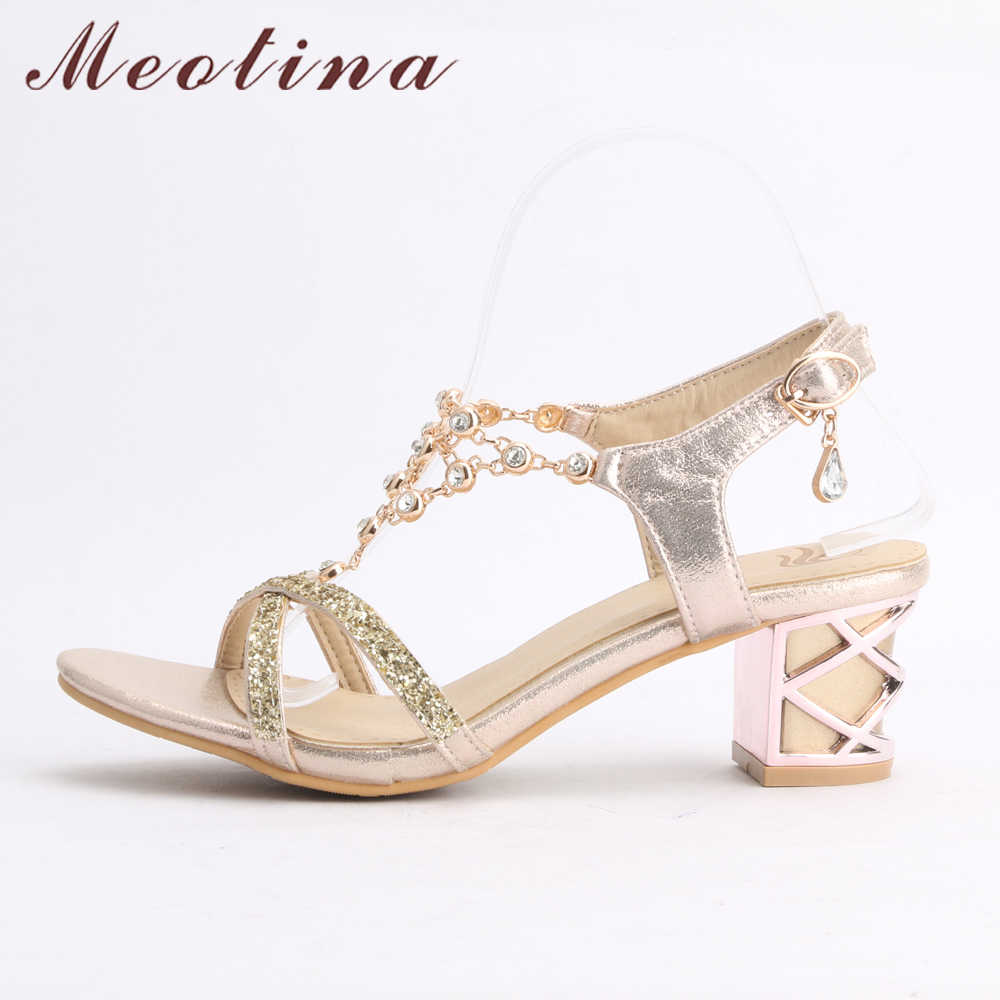 a5573aa38 ... Meotina Party Women Shoes Fashion Crystal Ladies Sandals Summer Open  Toe T-Strap Party Thick ...