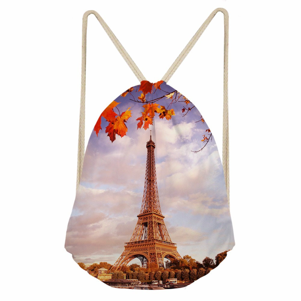 FORUDESIGNS Eiffel Tower/Retro Printing Women's Drawstring Bags Travel Small Storage Pouch For Kids Girls Sport Beach Mochila
