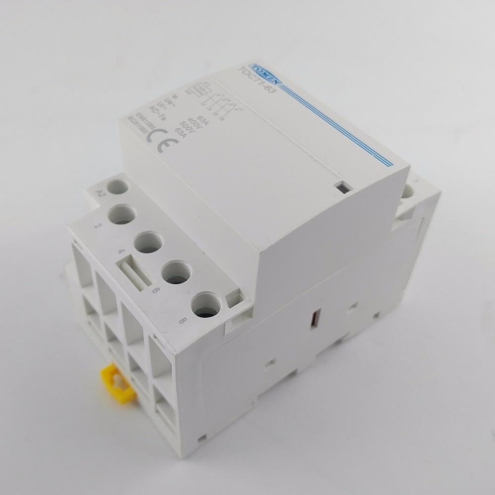 TOCT1 4P 63A 110V COIL 400V~ 50/60HZ Din rail Household ac Modular contactor 4NO or 2NO 2NC Contactors