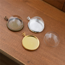 5sets 20mm glass dome globe with pendant setting base necklace pendant glass vial pendant glass cover jewelry findings цены онлайн