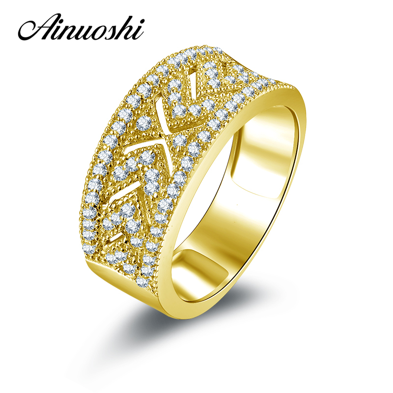 AINUOSHI 10K Solid Yellow Gold Women Engagement Ring Sona Simulated Diamond Anillos Wide Hollow Design Wedding Rings for Women ainuoshi 10k solid yellow gold wedding ring sona simulated diamond jewelry lady anillos new flower shape women engagement rings
