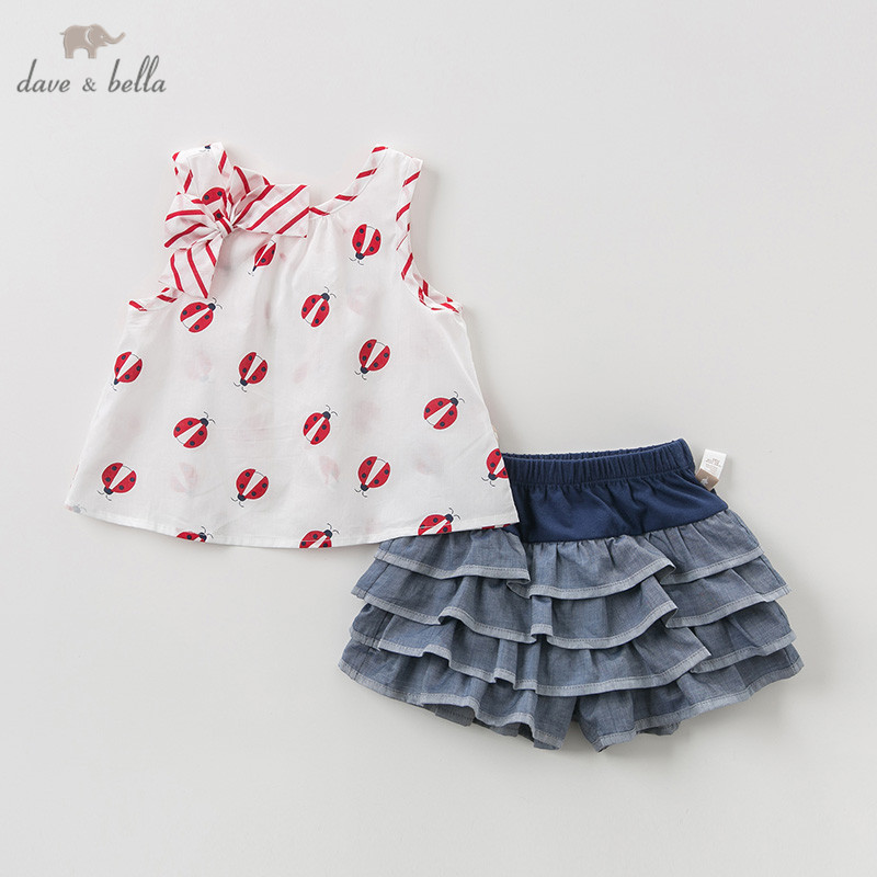 DB11505 Dave bella summer baby girl clothing sets cute bow print children suits infant high quality