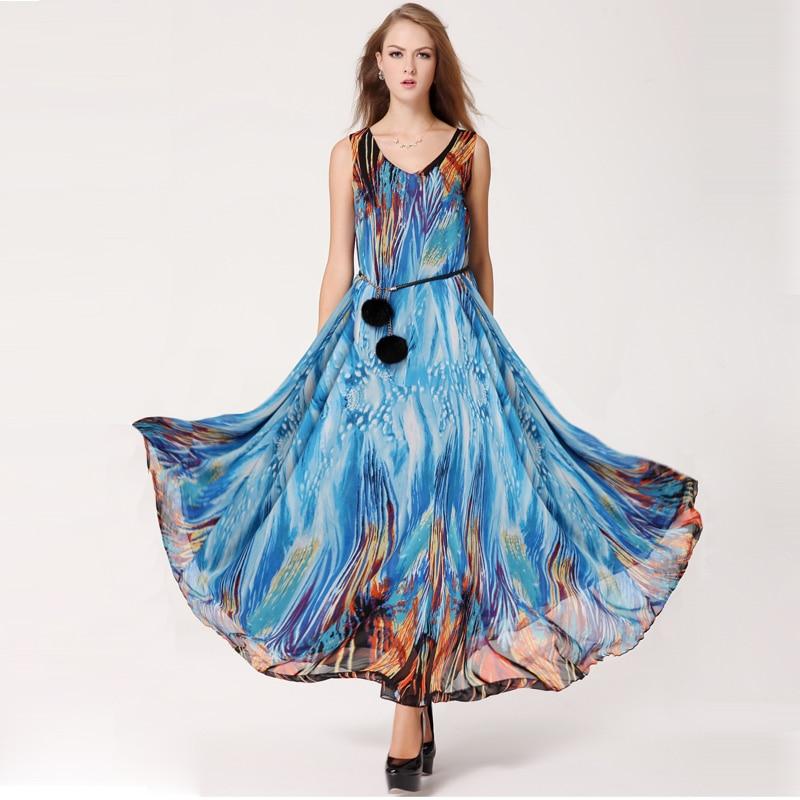 a98a4328a9 new summer dress 2015 plus size female ocean pattern one piece dress fox  fur double ball belt-in Dresses from Women's Clothing on Aliexpress.com |  Alibaba ...