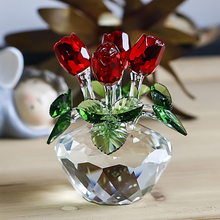 Red Rose Glass Figurine Ornament, Crystal Flowers Decoration