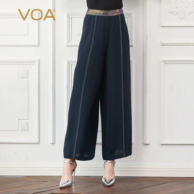 VOA Heavy Silk Office Ladies   Wide     Leg     Pants   Autumn Long Trousers Women Basic Loose Palazzo Mid Waist Casual Navy Blue   Pants   K782