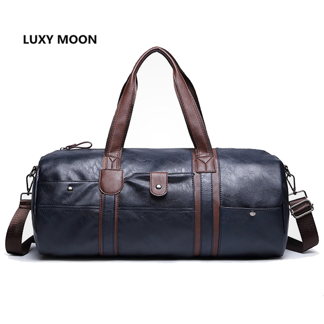 f1a144c01f0 Top Quality PU Leather Travel Bags Cylinder Men Duffle Bag Luggage  Waterproof Handbags for Men bolsa