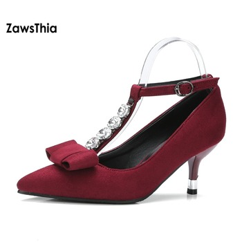 T Strap Mary Janes | ZawsThia Fashion Young Girl Black Burgundy Woman's Thin High Heels With Beads & Buckle T-strap Mary Janes Pumps Women Plus Size