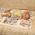 Lavable Patrón Encantador de la Historieta de Franela de Algodón Impermeable de 3 Capas de Bebé Cambio de Pañales Cambiador de Pañales Cubierta 75*120 cm