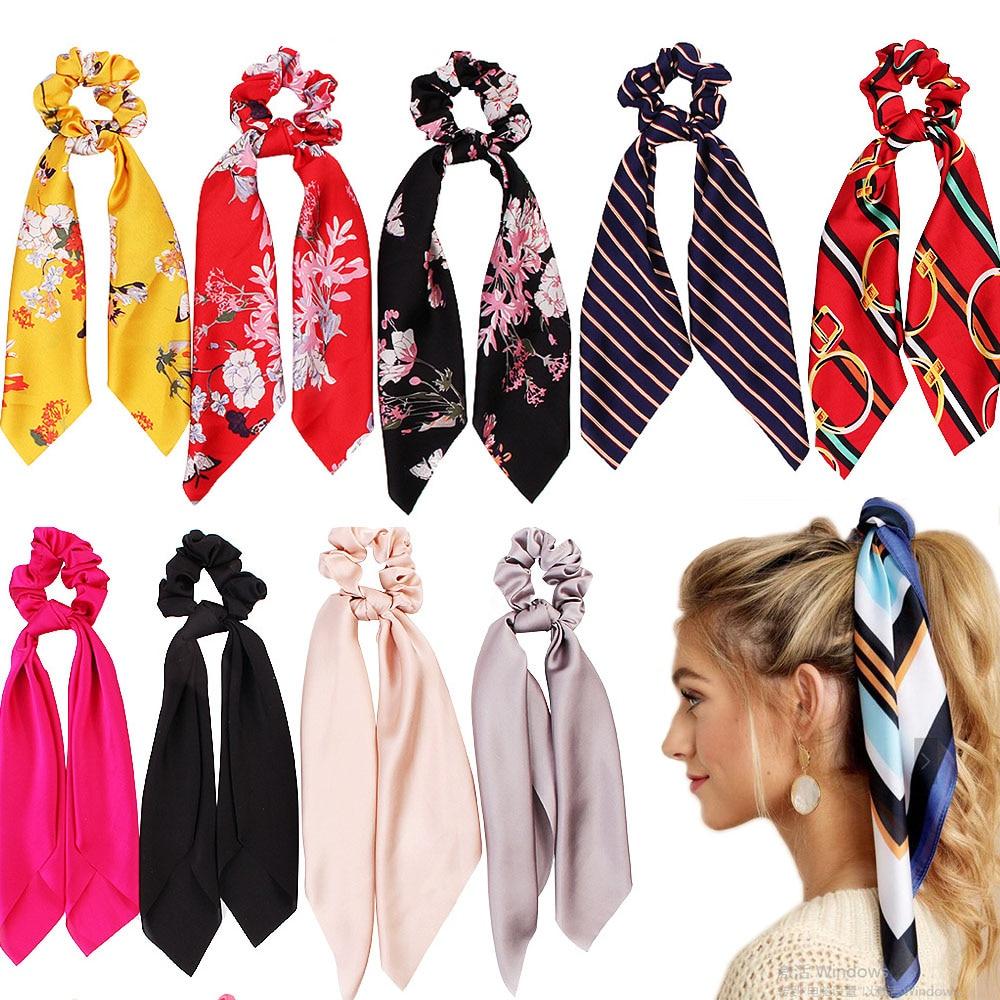 FASACC Women Print Elastic Hair Band Ties Scarf Scrunchies Ribbon Silk Scrunchy Ponytail Holder Hairband Girls Hair Accessories
