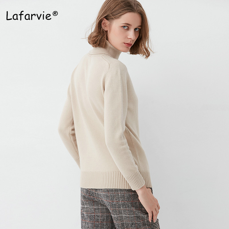 Lafarvie Winter Turtleneck Knitted Sweater Women Long Sleeve Warm Female Pullover Solid Casual Thick Basic Sweater Pull Jumper in Pullovers from Women 39 s Clothing