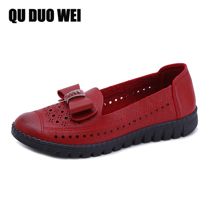 QUDUOWEI New 2018 Women Flats Spring Autumn Brand Women Shoes mother comfortable soft Toe Metal Decoration Female Casual Shoes cresfimix zapatos women cute flat shoes lady spring and summer pu leather flats female casual soft comfortable slip on shoes