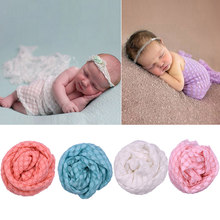 91*45cm Baby Casual Sleeping Bed Supplies Receiving Blankets Summer Candy Color Photo Props Wrap Blankets(China)