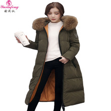 2016 Winter Down Jacket Women Long Coat Parkas Female Warm Clothes Raccoon Fur Collar Hooded Plus size Overcoat High Quality